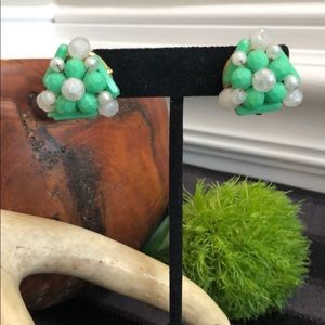 Vintage Hong Kong Green and White Cluster Earrings
